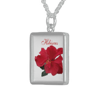 Hot Red Hibiscus Square Pendant Necklace