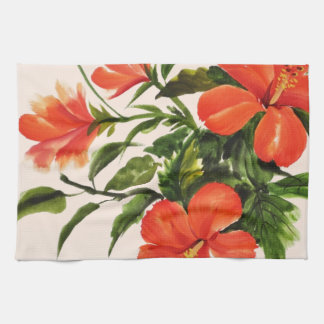 Hot Red Hibiscus Tea Towel