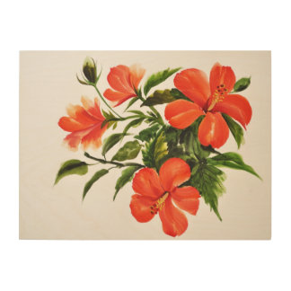 Hot Red Hibiscus Wood Wall Art
