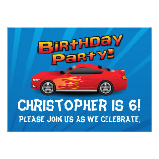 Hot Red Race Car Flames Boy s Birthday Party Med Announcements