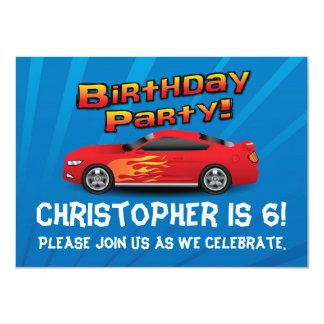Hot Red Race Car Flames Boy's Birthday Party Med. Announcements