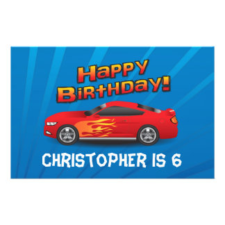 Hot Red Race Car with Flames Boy's Birthday Party 14 Cm X 21.5 Cm Flyer