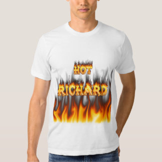 Hot Richard fire and flames red marble Tee Shirts
