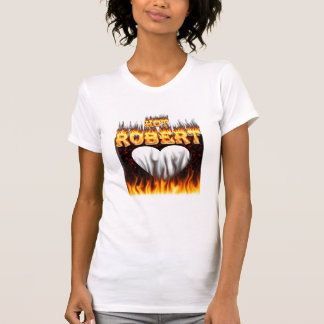 Hot Robert fire and flames red marble T-shirts