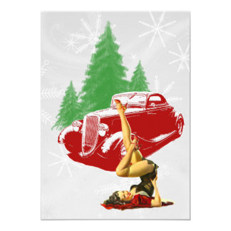 Hot Rod and Pin Up Christmas 13 Cm X 18 Cm Invitation Card