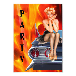Hot Rod and Pinup Birthday 13 Cm X 18 Cm Invitation Card