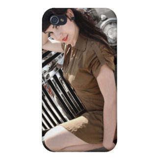 Hot Rod Army Pin Up Girl Rat Rod iPhone 4 Case