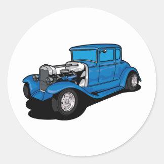 Hot Rod Blue Classic Round Sticker