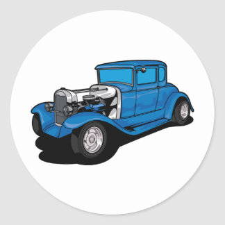 Hot Rod Blue Round Sticker