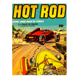 Hot Rod Car Racing - Vintage Art Postcard