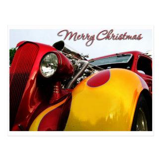 Hot Rod Christmas Card Postcard