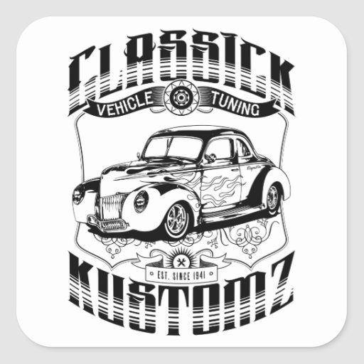 Hot Rod - Classick Kustomz (black) Square Stickers