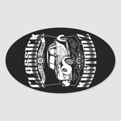 Hot Rod - Classick Kustomz (white) Oval Stickers