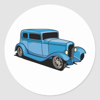 Hot Rod Coupe (Blue) Classic Round Sticker
