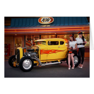 Hot Rod Coupe Car Hops Drive In Greeting Card