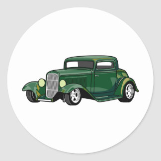 Hot Rod Coupe (Green) Round Sticker