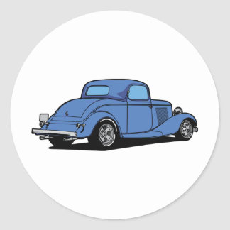 Hot Rod Coupe Round Stickers