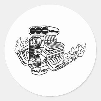 Hot Rod Engine Round Sticker