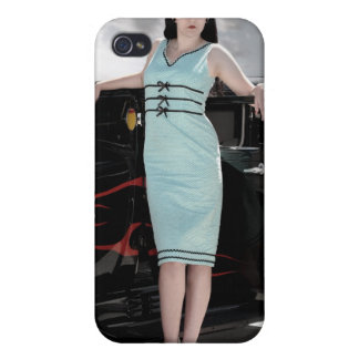 Hot Rod Flames Pin Up Girl Betty iPhone 4 Case