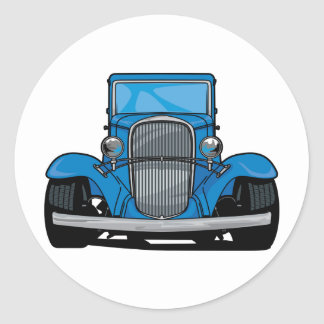 Hot Rod Front Classic Round Sticker