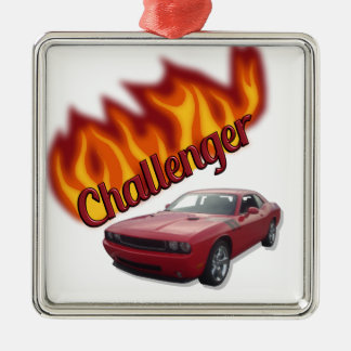 HOT ROD Muscle Car Silver-Colored Square Decoration
