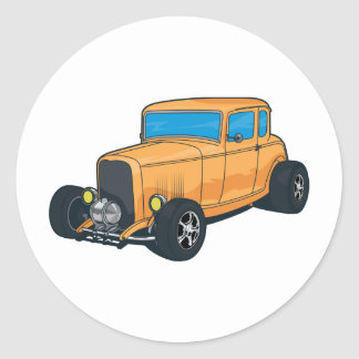 Hot Rod Orange Round Sticker