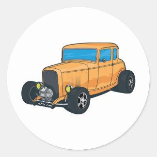Hot Rod Orange Round Stickers