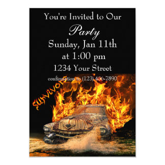 Hot Rod party fire invite