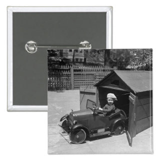 Hot Rod Pedal Car, early 1900s 15 Cm Square Badge