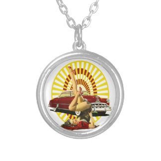 Hot Rod Pin Up Girl Silver Plated Necklace