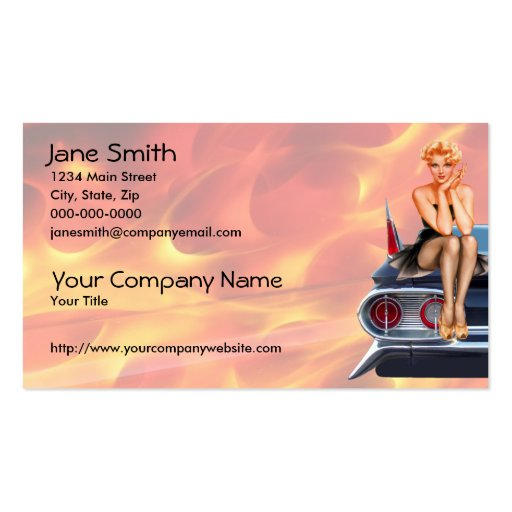 Hot Rod Pin Up Girl with Flames Business Card