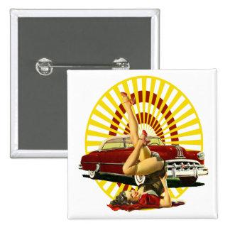 Hot Rod Pinup Girl 15 Cm Square Badge