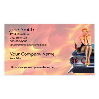Hot Rod Pinup Girl with Flames Pack Of Standard Business Cards