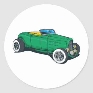 Hot Rod Roadster (Green) Round Sticker