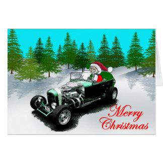 Hot Rod Santa Greeting Card