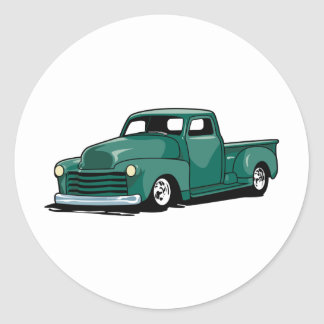 Hot Rod Truck Round Sticker