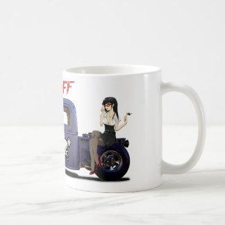 Hot Rod Truck with a Girl Basic White Mug