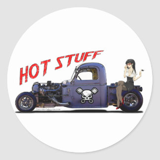 Hot Rod Truck with a Girl Classic Round Sticker