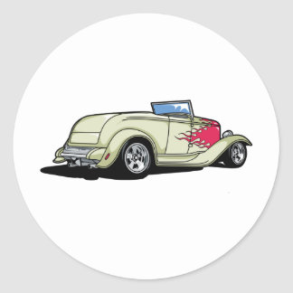 Hot Rod with Flames Round Stickers