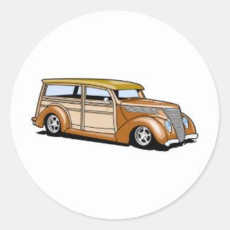 Hot Rod Woodie Round Sticker