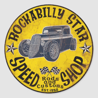 Hot Rods Speed shop Round Sticker