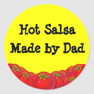 Hot Salsa Retro Custom Canning Labels Round Stickers