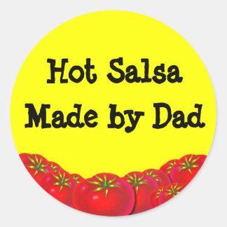 Hot Salsa Retro Custom Canning Labels Round Stickers