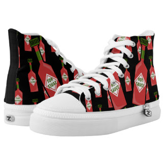 Hot Sauce Black High Tops Printed Shoes