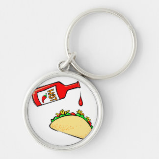 Hot sauce dripping on taco Silver-Colored round key ring
