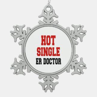 Hot Single ER Doctor Pewter Snowflake Decoration