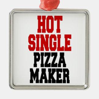 Hot Single Pizza Maker Silver-Colored Square Decoration