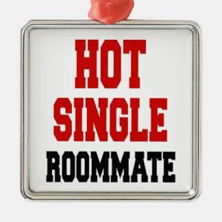 Hot Single Roommate Silver-Colored Square Decoration