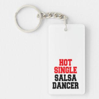 Hot Single Salsa Dancer Double-Sided Rectangular Acrylic Key Ring