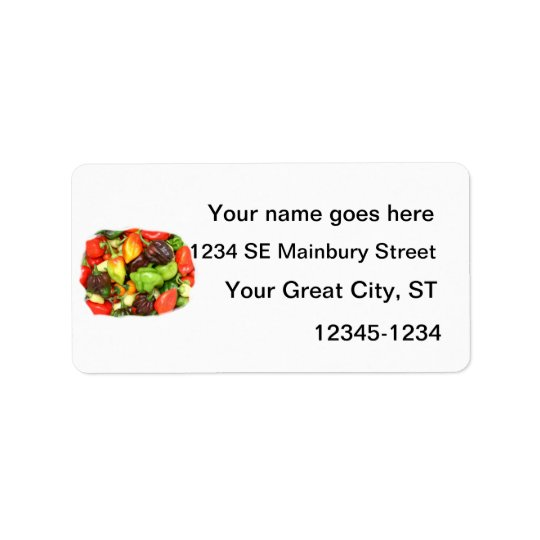 Hot Spicy Peppers Different Species, Spice it up! Address Label